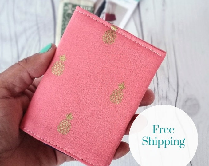 Featured listing image: Pineapple Wallet, Coral Wallet, Slim Wallet, Small Women Wallet, Business Card Wallet, Credit Card Wallet, Credit Card Case, Gift Idea