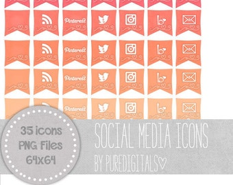 Orange Social Media Icons, Blog Buttons, Social Media Buttons, Cute Social Media Buttons, Orange Blog Buttons, Website Icons