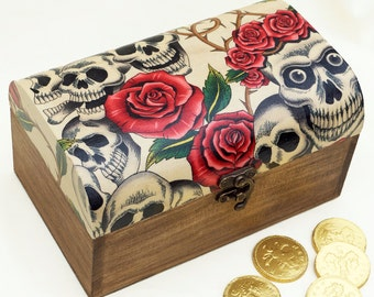 Skull Decor Wooden Jewellery Box or Treasure Chest - Unique Gift Box
