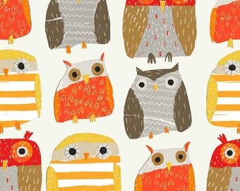 Woodwinked Fabric Woodland Owl Fabric, Dear Stella Fabrics, Owls in Autumn Colors