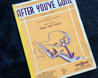 After You've Gone Benny Goodman's Quartet Disney Sheet Music from Make Mine Music Australian Printing