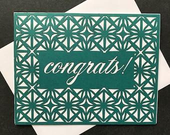 Congrats Laser Cut Geometric Card