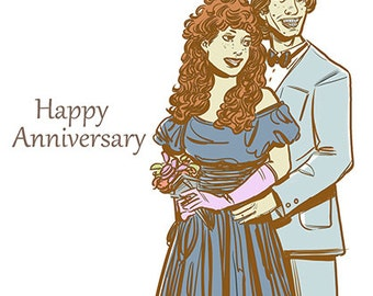 Happy Anniversary, Illustrated Greeting Cards, Humorous, Gift for Couple, Husband, Wife, Boyfriend, Girlfriend