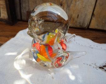 Vintage Blown Glass Paperweight, 1960's Art Glass Bird, Glass Bird Figurine, Collectible Art Glass, Art Glass Sculpture, Heavy Paperweight