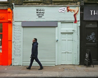 London Photography - Shoreditch Print - Wakey Wakey Shop Front