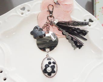 Jewelry bag black and silver tassel, cameo jewelry, jewelry, black and white
