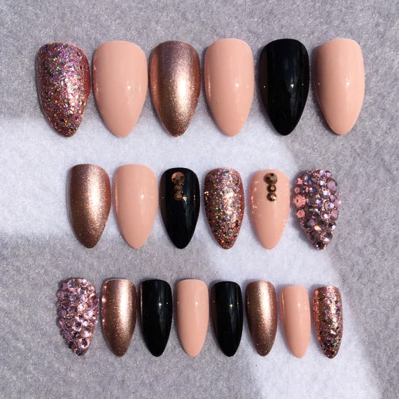 Pinkish Nude Stiletto Fake Nails * Faux Nails * Glue On Nails * Rose ...
