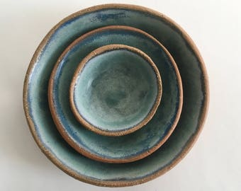 Ceramic Nesting Bowl Set, 3 Blue Stoneware Pottery Bowls