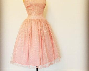 Original 1950s pink tulle dress Audrey Hepburn style size 8