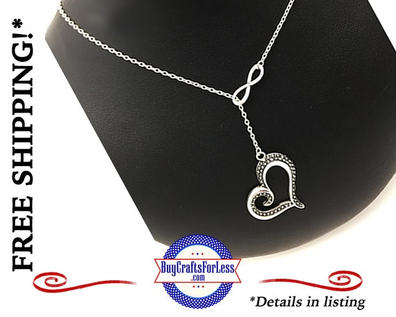 """Infinity HEART Love Necklace, 24"""", Gift Box Avail.- Best Seller +FREE SHiPPiNG & Discounts*"""
