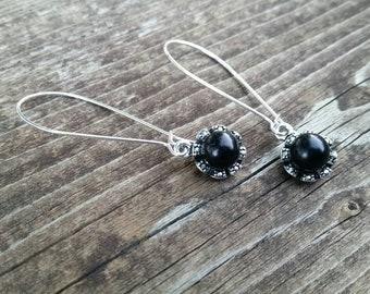 Black Pearl Flower Charm Earrings - Long Elegant Formal Jewelry - Bridal Accessories - Pearl Flowers