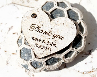 Rustic Favor Tags, Wedding Favor Tags, Heart Gift Tags, Wedding Thank You Tags, White Cork All Natural Tags, Set of 25