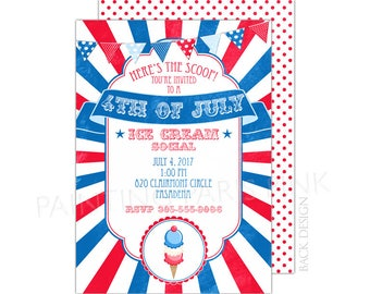 Ice Cream Social Fourth of July Party Invitation | Printable OR Professionally Printed | 5x7