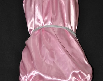 DOUBLE LAYERED satin all-in-one teddy, baby pink silky soft lounging wear, SS Sissy Lingerie, panties for men