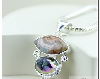 Flawless! Mexican Crazy Lace Agate Drusy 925 Solid Sterling Silver Pendant + 4mm Snake Chain & FREE Worldwide Shipping P2046