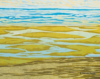 block print - Sand Pools - jigsaw reduction woodcut