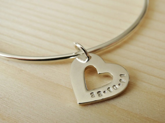 Personalised Silver Heart Bangle, Sterling Silver