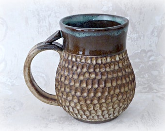 Highly Textured Mug in Brown and White with Aqua