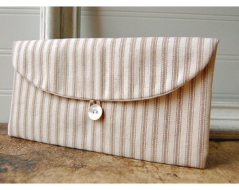 brown clutch purse stripe ticking Geometric Wedding Clutch Purse, rustic Bridesmaid Gift, stripe Bridesmaid Clutch, Clutch Wedding Accessory