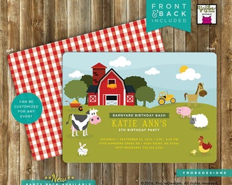 Farm Animal Invitation Invite Landscape Stripes Plaid Child Boy or Girl Birthday 5x7 4x6 chicken cow sheep pig barnyard barn tractor