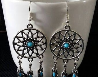 """Indian Dreamcatcher"" earrings 7 cm"