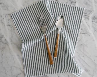 Wedding Napkins, Cloth Napkin, Stripe Linen Napkin, Green Stripe Table Linens, Everyday Cloth Napkins, Green and White Cloth Fabric