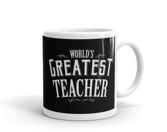 Teacher gifts for Christmas, World's Greatest Teacher Coffee Mug, teacher friend gift, teacher to be gifts, teacher mug, teacher christmas