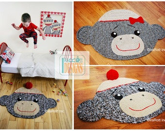 CROCHET PATTERN Spunky the Sock Monkey Rug Mat Nursery Carpet Crochet PDF Pattern Instant Download