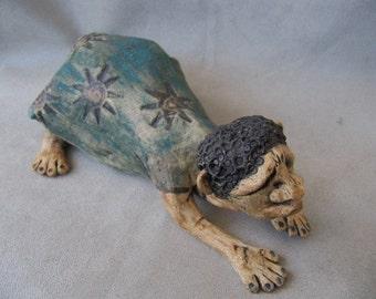 Folk art primitive naive clay ceramic pottery sculpture of yoga woman
