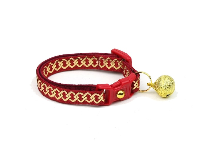 Celtic Knot Cat Collar - Gold Knots on Red - Small Cat / Kitten or Large Cat Collar