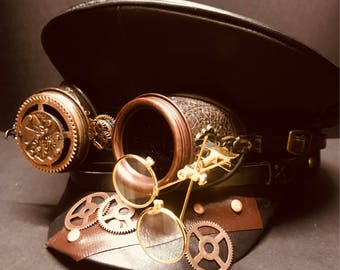 Steampunk Military Army hat with Gold Double Loupy on Distressed Embossing Goggles in size 58cm, 59cm