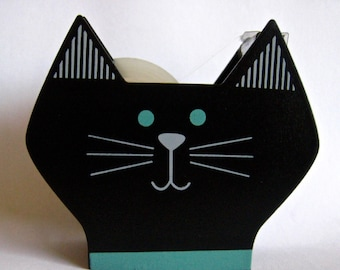 """SALE From Decole of Japan """"Awesome Cat"""" Wooden Tape Dispenser, Designed by """"Yuka Saji"""" in Black"""