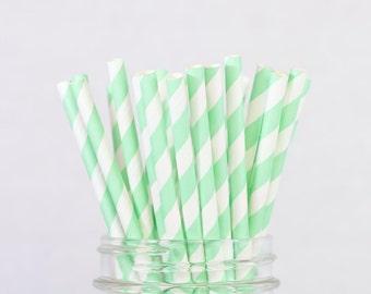 25 Mint Stripe Paper Straws, Mint Wedding Party Decor, Birthday Parties, Mason Jar Buffet Table, Wedding Party Decor, Baby Bridal Shower