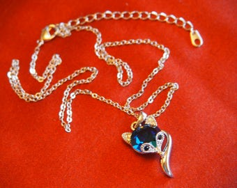 "White Gold Plated  ""Fox""  Necklace with Swarovski Crystal element."