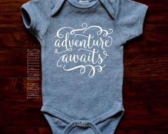 Adventure Awaits Pregnancy Announcement ONESIE® Baby Announcement Onesie, Custom Baby Onesie Baby Announcement Maternity Photo Baby Bodysuit