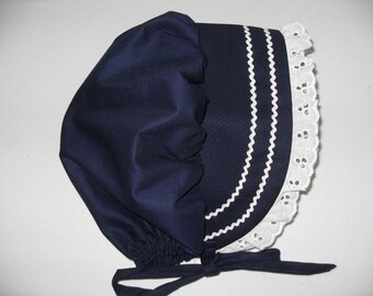 Navy Blue Bonnet Sunhat Sunbonnet w/eyelet lace, sizes NB, 3,6,9,12.18.24 months