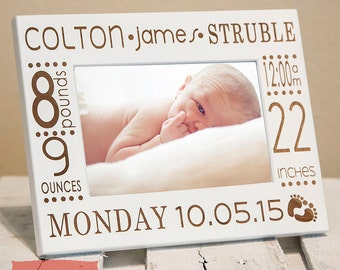 Baby Picture Frame-Personalized Birth Announcement Picture Frame w/ stats-Baby Stat-Baby Name-New Baby-Wood Engraved-Color Choice