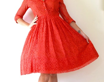 Vintage 50s 60s Deck the Halls Red Lace New Look Shirt Waist Dress (size small, medium)