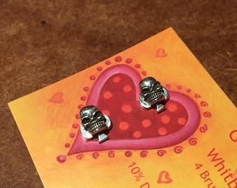 925 Silver 3D Skull Stud Earrings - 'Ace'