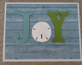 JOY Wall Decor WORD Art - Jesus First, Others Second, Yourself Last - Aqua, Green & White