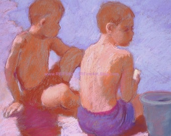 Two boys beach print at the seashore 8 x10, brothers, children playing, figures, seashore, shore, purple, red, blue, ocean, kids, reifsnyder