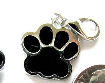 5 Pieces Black Enamel PAW with Lobster Claw Clasp
