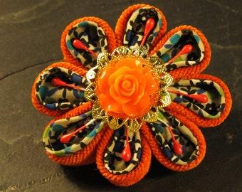 fabric flower pin brooch