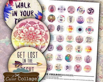 Boho Zen, Boho Collage Sheet, Zen Collage Sheet, Digital Collage, Collage Sheet, 1 Inch Circle Images, Bottle Cap Images, Printable