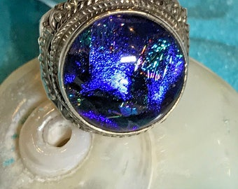 New American Artisan Crafted Sterling Silver .925 Dichroic Glass Blue Rainbow Mult Color Ring Size 7