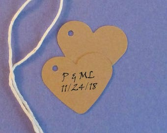 100 wedding tags heart tags his/her kraft tags wedding favor tags bride/groom tags bridal shower tags gift tags personalized tags mini tags