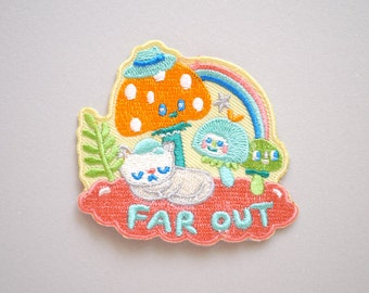 New neon colourway - Far Out - Magic mushroom Iron On Patch