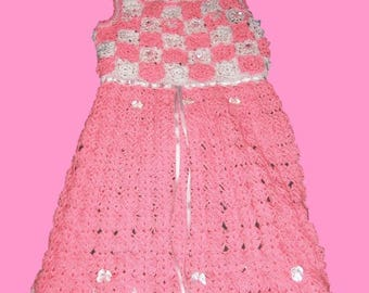 Handmade Pink & White Crochet Girl Dress.
