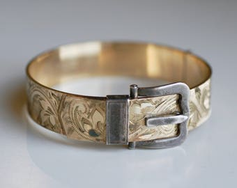 Antique 1910 Edwardian silver and rolled gold etched buckle bangle / etched gold filled working buckle bracelet / 1910s Victorian bangle