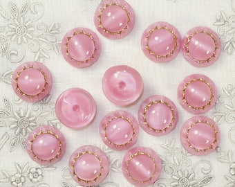 13.5 mm Pink Moon Glow Cabochons, 4 for 5.00- VB 89